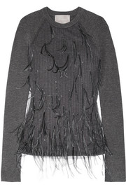 Feather-embellished tulle and ribbed wool-blend sweater