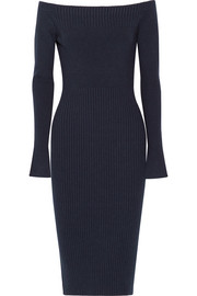 Jason Wu Off-the-shoulder ribbed stretch wool-blend dress