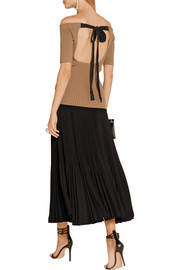 Jason Wu Off-the-shoulder ribbed stretch wool-blend top