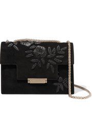 Embroidered suede shoulder bag