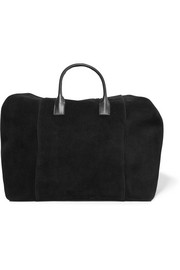 Leather-trimmed suede weekend bag