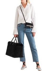 AERIN Leather-trimmed suede weekend bag