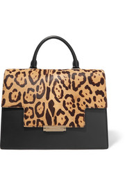 Leopard-print calf hair and leather tote