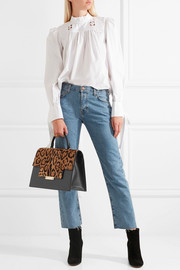 AERIN Leopard-print calf hair and leather tote