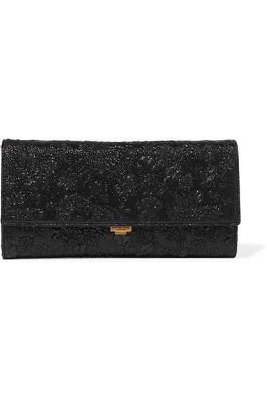 Michael Kors Collection - Yasmeen Metallic Floral-brocade Clutch - Black