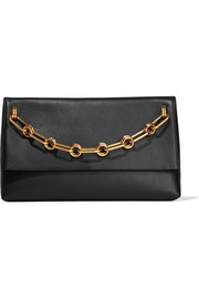 Mia chain-embellished leather clutch