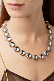 Larkspur & Hawk Olivia Button Rivière black rhodium-dipped quartz necklace