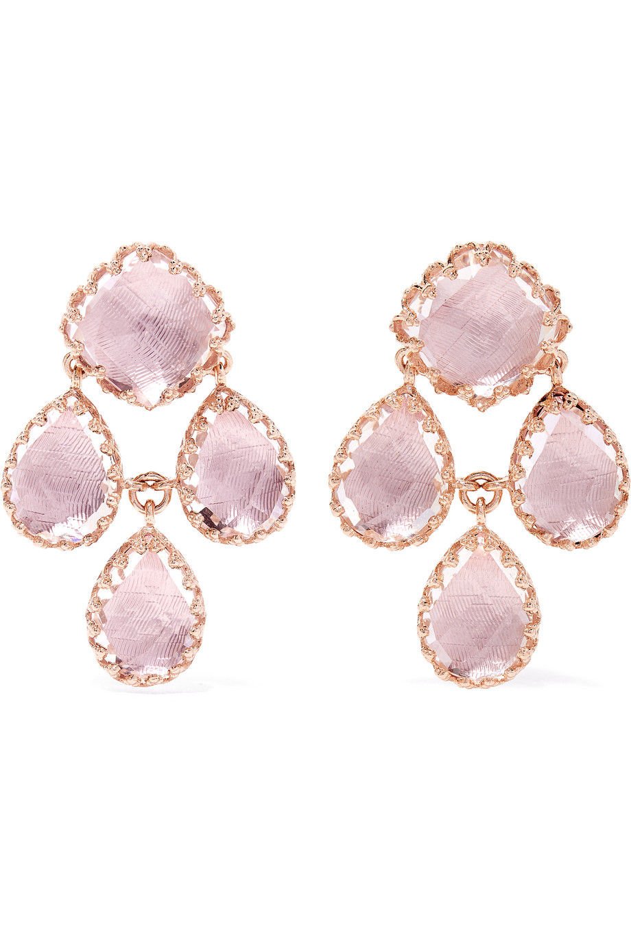 Larkspur & Hawk Antoinette Girandole Rose Gold-Dipped Quartz Earrings, Rose Gold/Pink, Women's