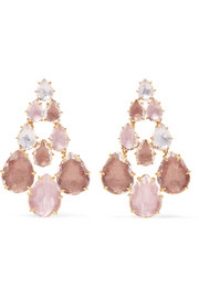 Larkspur & Hawk Catarina Chandelier gold-dipped quartz earrings