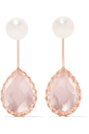 Larkspur & Hawk Antoinette rose gold-dipped, quartz and pearl earrings
