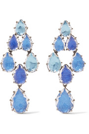 Caterina Swag rhodium-dipped quartz earrings