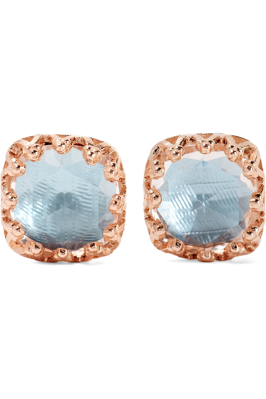 Larkspur & Hawk Jane Small Rose Gold-Dipped Quartz Earrings, Rose Gold/Light Blue, Women's