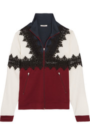 Lace-trimmed stretch-jersey jacket