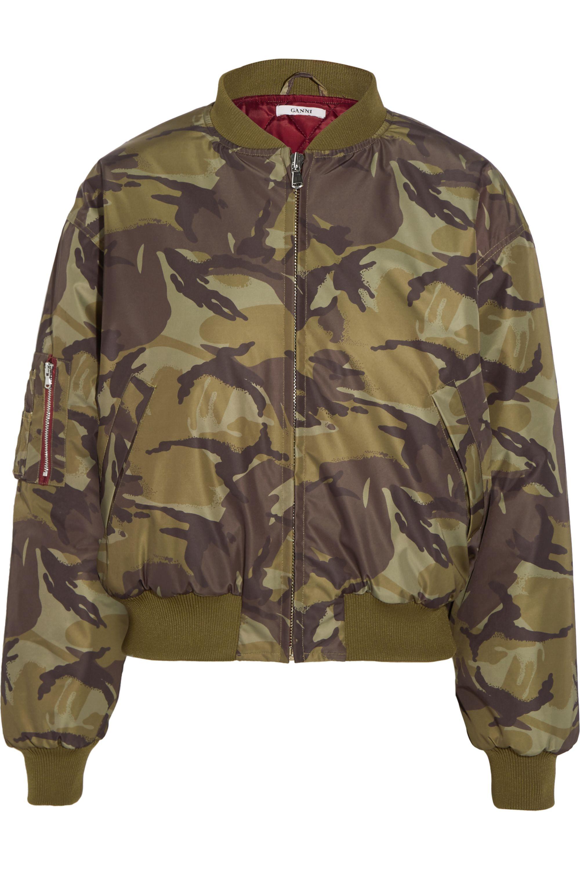 GANNI Camouflage-print shell bomber jacket