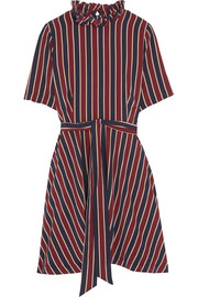 Striped silk crepe de chine mini dress
