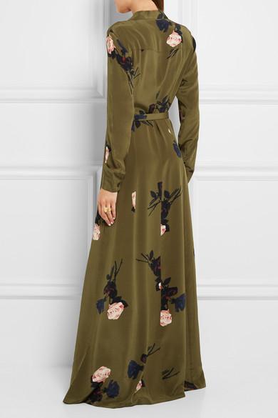 08b28197 GANNI | Floral-print silk crepe de chine maxi dress | NET-A-PORTER.COM