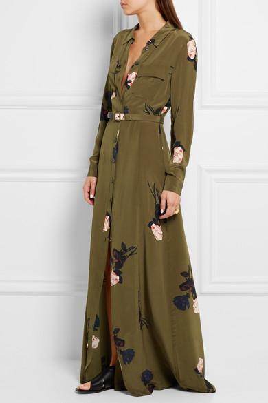 Ganni Floral Print Silk Crepe De Chine Maxi Dress Net