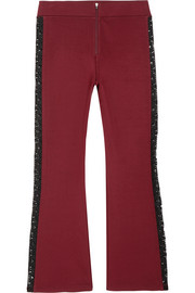 Rogers cropped lace-trimmed stretch-jersey flared pants