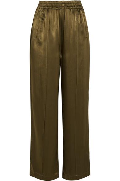GANNI - Satin Wide-leg Pants - Army green