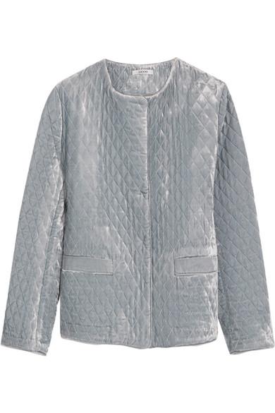 GANNI - Quilted Velvet Jacket - Light blue