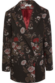 Double-breasted cotton-blend floral brocade blazer