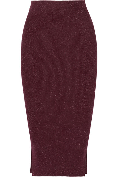 By Malene Birger - Limon Metallic Ribbed-knit Skirt - Merlot