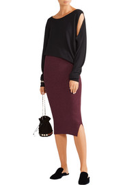 By Malene Birger Limon metallic ribbed-knit skirt