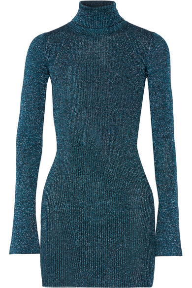 By Malene Birger - Errandi Metallic Ribbed-knit Turtleneck Sweater - Petrol