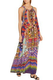 Embellished printed washed-silk maxi dress