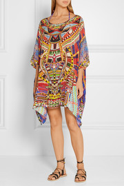 Embellished printed washed-silk kaftan
