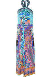 Essaouira embellished printed silk crepe de chine maxi dress