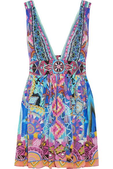 camilla female 248826 camilla essaouira embellished printed silk crepe de chine mini dress purple