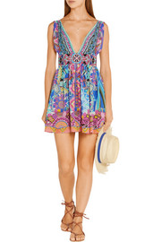 Essaouira embellished printed silk crepe de chine mini dress