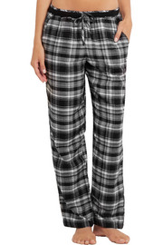 DKNY Plaid cotton-blend pajama pants