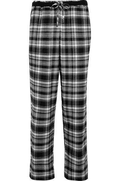 DKNY - Plaid Cotton-blend Pajama Pants - Black