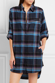 DKNY Plaid jersey-trimmed cotton-blend nightshirt