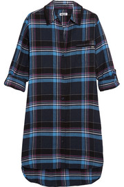 Plaid jersey-trimmed cotton-blend nightshirt