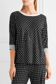 Printed stretch-modal jersey pajama top