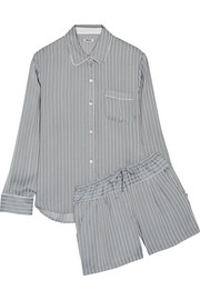 Striped satin pajama set