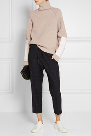 Victoria Beckham Faux leather-trimmed wool turtleneck sweater