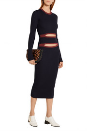 Cutout ribbed-knit midi dress