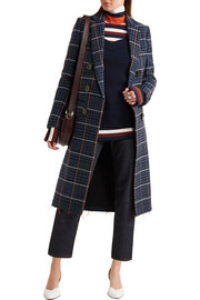 Victoria Beckham Embroidered houndstooth wool coat