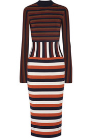 Striped wool-blend jersey dress