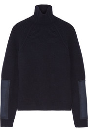 Victoria Beckham Canvas-paneled wool turtleneck sweater
