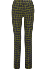 Stretch-jacquard slim-leg pants