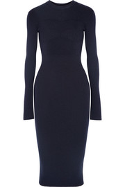 Ribbed stretch wool-blend dress