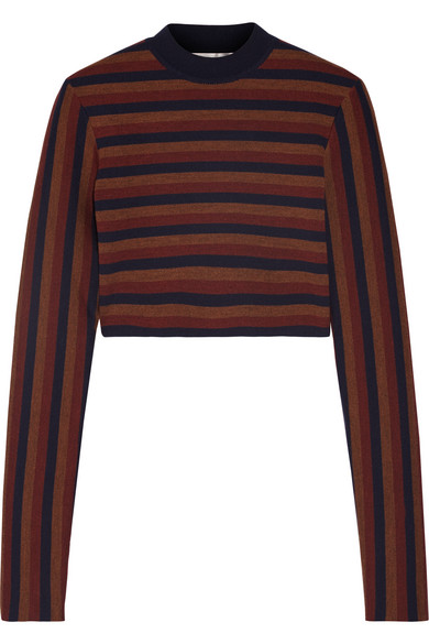 Victoria Beckham - Cropped Striped Stretch Wool-blend Sweater - Navy
