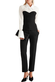 Victoria Beckham Satin-trimmed grain de poudre wool tapered pants