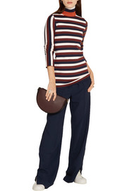 Victoria Beckham Striped stretch wool-blend turtleneck sweater