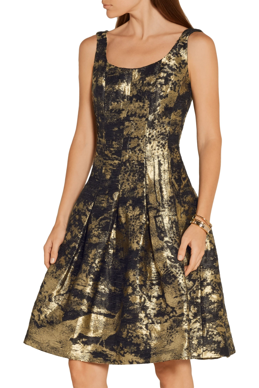 Oscar de la Renta Metallic jacquard dress